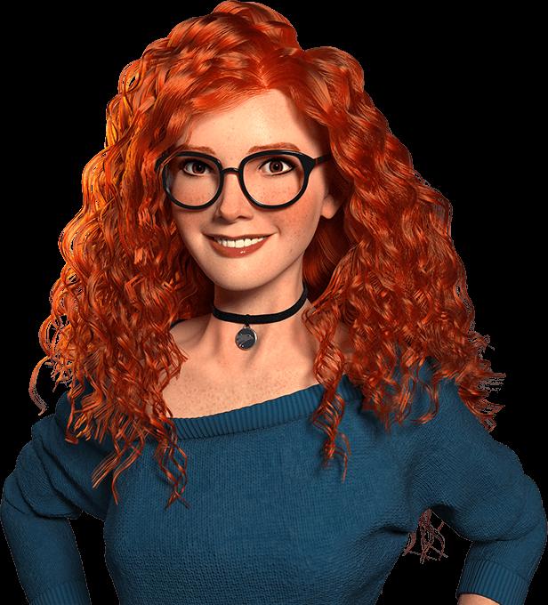 Imagem Wizzy, menina ruiva usando óculos e sorrindo